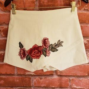 Blue Blush Embroidered Flowers Skort White Shorts
